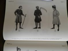 Czech male costume of the early 15th century. Workinginen of the middle of the 15th century from the Petri dc Crescentiis MS Ruralitim cemmo dorum Libri XII (Prague University Library, ref. no. VII C 8). Three gardeners in timics, smocks, gathered in at the waist and reachin to below the knees; a high neckline and long, narrow or fairly full sleeves; tight hose. One of them wears a cap with the brim turned up and slit over the forehead. Details: a bch, a1o a poüch hanging from the belt.