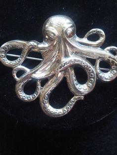 Vintage Silver Octopus Figural Brooch Pin by VansVintageTreasures, $60.00