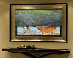 Your Home: Masters of Disguise for the Flat Screen TV Hide Tv Over Fireplace, Fireplace Wall, Fireplace Design, Fireplace Ideas, Tv Escondida, Tv Covers, Hidden Tv, Flat Panel Tv, Tv Panel
