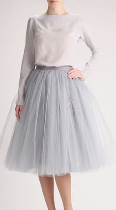 Grey tulle skirt, Handmade long skirt, Handmade tutu skirt