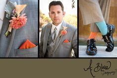 Groom's Suit ... Grey & Orange The Cliffs Resort Weddings  photographer Ashley Blake