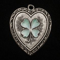 Oversized Heart & 4-Leaf Clover Charm