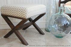 The Chronicles of Home: Tutorial for DIY X Leg Upholstered Bench- DIY Cross leg bench! Futons, Furniture Projects, Home Furniture, Bench Furniture, Wood Projects, Home Crafts, Diy Home Decor, Diy Stool, Diy Vanity
