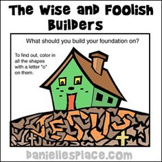 """What Should You Build Your Foundation on? Bible Activity Sheet for Sunday School from www.daniellesplace.com"