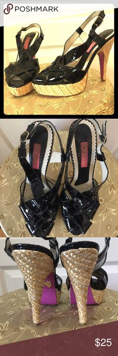 Betsey Johnson Black Patent and Straw Heels 8.5 These amazing shoes are actually easier to walk in than they look. I forgot to measure the heel before going upstairs so I'll come back and add that in a sec. Betsey Johnson Shoes Heels