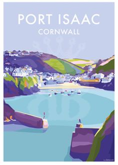 Port Isaac vintage style travel poster and seaside print forms part of the British Coastlines travel art collection. Created by Devon Artist Becky Bettesworth. Posters Uk, Railway Posters, Vintage Travel Posters, Poster Prints, Party Vintage, Vintage Ski, Port Isaac, Illustration Art Drawing, Kunst Poster