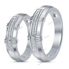 Bride/ Groom 14k White Gold Finish Engagement Diamond Couples Band Set Size 5-14 #tvsjewelery #WeddingEngagementAnniversary