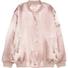 Satin Pilot Jacket $69.99 ($70) ❤ liked on Polyvore featuring outerwear, jackets, pink jacket, pocket jacket, pink satin jacket, satin jackets and stand collar jacket