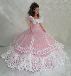 Crocheted barbie doll dress