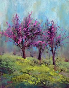 'Redbud Tree Painting' - by Karen Margulis Pastel Landscape, Landscape Art, Landscape Paintings, Tree Paintings, Pastel Paintings, Pastel Artwork, Spring Landscape, Pinturas Em Tom Pastel, Spring Painting