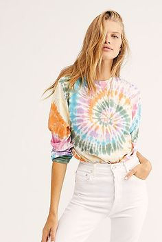 New Arrivals: Women's Clothing   Free People Womens Tie Dye Shirts, Tie Dye T Shirts, Tie Dye Outfits, Rave Outfits, Tomboy Outfits, Emo Outfits, Tie Dye Jeans, Style Girlie, Free Clothes