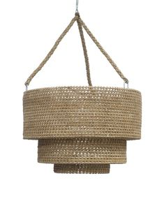 Rope and Rattan Woven Tiered Pendant Plug in Pendant, Three 60 Watt Candelabra Bulbs Inline Rocker Switch Metal Chain for Hanging 1 in Southampton Pendant Chandelier, Hanging Pendants, Pendant Lighting, Family Office, Deck Lighting, Shop Lighting, House Lighting, Lighting Ideas, Coastal Lighting