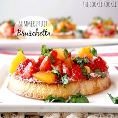 Peach and Strawberry Bruschetta with Basil and White Raspberry Balsamic Vinegar. Fresh, Easy, and Delicious. The perfect summer appetizer or dessert!