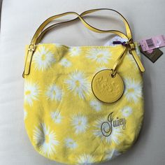 Juicy couture buttercup bag. New Juicy couture bag.  Brand new. Yellow with white bursts.  Buttercup.  Sort of a soft velour look and feel.  2 patent leather straps.   Magnetic closure.  One inside zip pocket and three open pockets. Juicy Couture Bags