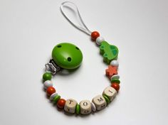 Wooden beaded pacifier clip  personalised by Toysforchildren, $8.90