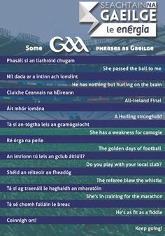Some GAA related Gaeilge phrases. Gaelic Words, Irish Language, Scottish Gaelic, Language Quotes, Irish Landscape, Love Ireland, Irish People, Funny Posters, Petticoats