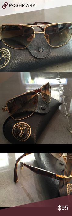 Ray-Ban sunglasses Gold w/tortoise colored sides. In excellent condition. Not worn much. Comes w/case🎉$165. Retail Value. Ray-Ban Accessories Sunglasses