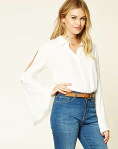 #AdoreWe #VIPme Blouses & Shirts❤️Designer RichcocoClassic White Sexy Bell Sleeve Loose H-line Blouse - AdoreWe.com