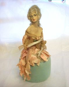 Antique German Half Doll on Soft Base Composition with Bisque Arms