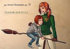 Ginny teaching her daughter Lily Luna how to fly