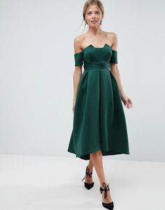 ASOS Bardot Pleated Waist Scuba Midi Prom Dress - Green