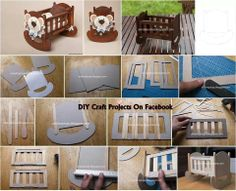 Crib out of cardboard and popsicle sticks