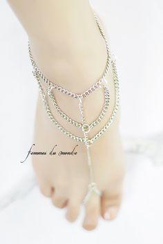 Silver Anklet - Slave Bracelet - Barefoot Sandal - Belly Dancer Foot Jewelry