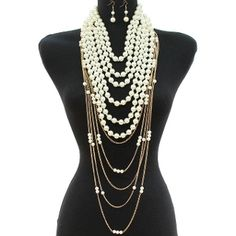 Long Layered Ivory Gold Chain Pearl Necklace Set Elegant Jewelry  sc 1 st  Pinterest & 100 best Fashion Pearls - A wardrobe requirement images on Pinterest ...