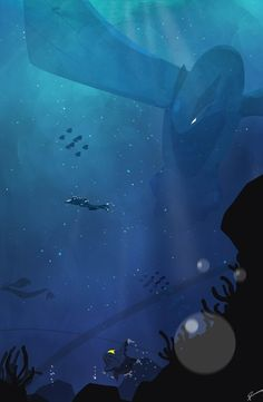 That would be so awesome and terrifying to just randomly dive where Lugia is chilling under the sea. <<< Forget Lugia, I'd be worried about that Sharpedo! Those things are fucking vicious! Pokemon Mew, Pokemon Fan Art, Fotos Do Pokemon, Pokemon Fusion, Original Pokemon, Pokemon Images, Pokemon Pictures, Pokemon Na Vida Real, Images Kawaii