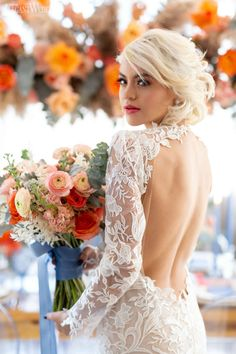 Orange and blue wedding inspiration | ElegantWedding.ca
