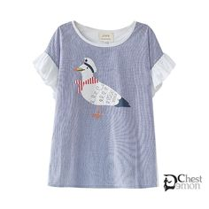 Todays Fashion T-Shirt on The Demon's Chest.Navy Striped Mew Gull T-Shirt Patchwork Frills Lace Tee Dc256 always wearable, forever pairable; comfy and charm, effortlessly yet attractive.Absolutely gorgeous stylish cool, and fashionable.Full of young vitality and glamour.