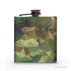 Woodland Camouflage Geometric  6oz Whiskey Hip by DrinkingBuddy