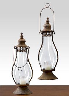 RUSTIC - Antique Rust Standard Lantern Vintage Oil Lamp Look Wedding Event Prop