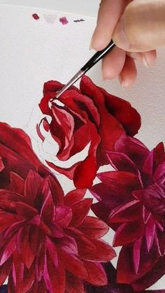 Watercolor Painting Techniques, Watercolour Painting, Watercolor Art Lessons, Paris Painting, Rose Watercolour, Floral Watercolor, Flower Painting Canvas, Butterfly Painting, Rose Sketch