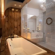 badezimmer holz-verkleidung luxuriös waschbeckentisch deko-kerzen