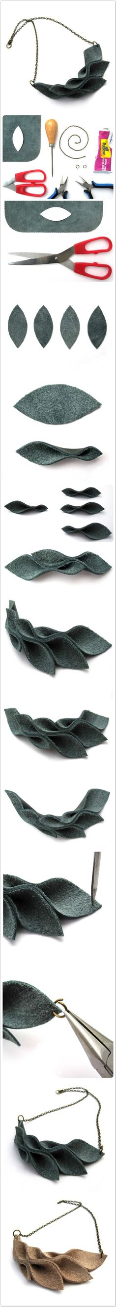 Leather Leaves Necklace-We Like Craft