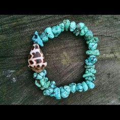 GypSea Bracelet Handmade Turquoise bracelet with a Hebrew cone shell. made in hawaii GypSea Gems  Jewelry Bracelets