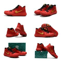 buy online 21187 b5961 Size Euro 40 Youth Kyrie Shoes 3 Big Boys 2018 Red Gold Or Rouge, Chaussures