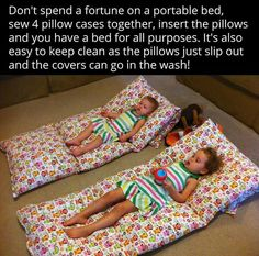 Diy. Lounge bed made out of pillow cases. For chidren or adults!