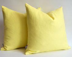 Sukan / 1 Linen Pillow Cover Soft Yellow - Yellow Pillow Cover - Soft Yellow Pillow Cover - Celadon Pillow Cover - Throw Pillow - 22 x 22