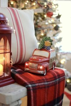 Vintage truck from in farmhouse Christmas mantel Christmas Red Truck, Tartan Christmas, Christmas Train, Christmas Mantels, Victorian Christmas, Country Christmas, Vintage Christmas, Christmas Decorations, Holiday Decorating