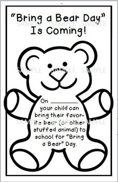 Bring a bear day sample for hibernation day/winter theme Bears Preschool, Preschool Classroom, Classroom Activities, Preschool Winter, Teaching Kindergarten, Day Care Activities, January Preschool Themes, Kindergarten Graduation, Kindergarten Worksheets