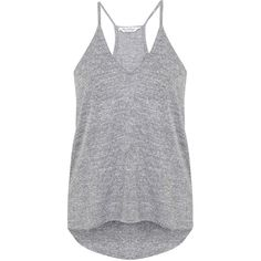 Miss Selfridge Grey Longline Cami ($20) ❤ liked on Polyvore featuring tops, shirts, tank tops, tanks, grey, polyester shirt, camisole tops, cami tank, strappy tank and grey camisole