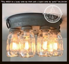 Our rustic mason jar ceiling light features EIGHT mason jar lights, arranged on a galvanized metal mounting plate for style in any direction Mason Jar Light Fixture, Mason Jar Lighting, Ceiling Light Fixtures, Ceiling Lights, Mason Jar Pendant Light, Pendant Lights, Ceiling Light Diy, Rustic Light Fixtures, Pendant Lamps