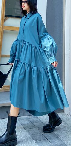 Modest Dresses, Blue Dresses, Casual Dresses, Spring Clothes, Spring Outfits, Mode Outfits, Fashion Outfits, Pretty Outfits, Mantel