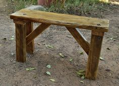 Rustic Bench, Recycled Wood, rugged furniture, cabin furniture, Hand Made, antique look, straddle leg construction, Furniture, home decor