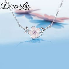 2017 New Arrivals 925 Sterling Silver AAA Zirconia Cheery Flower Necklaces Pendant For Women Fashion sterling-silver-jewelry