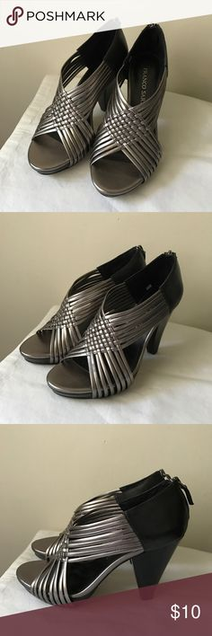 "Franco Sarto metallic and black heels Metallic silver and black strappy heels - woven strap design - back zipper closure - all man made material - like new! - front platform measures 0.75"" - heel measures 4"" - size 7 Franco Sarto Shoes Heels"