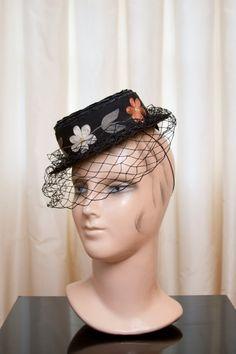 1940's Hat // Side Tilt Black Straw with by GarbOhVintage on Etsy, $98.00