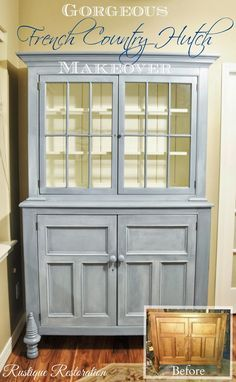 Gorgeous French Country Hutch Makeover, with white glazing!  At Rustique Restoration! Inspiration for the curio cabinet